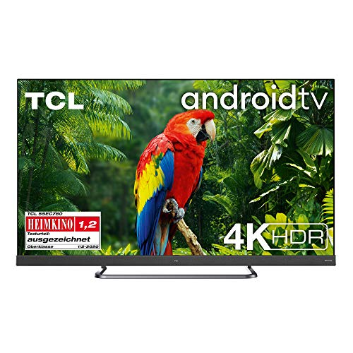 TCL 55EC780 Fernseher 139 cm (55 Zoll) Smart TV 4K (Android TV,4K HDR Pro, HDR 10+, Netflix 4K, ONKYO Soundbar, Prime Video, Works with Alexa) Brushed Titanium