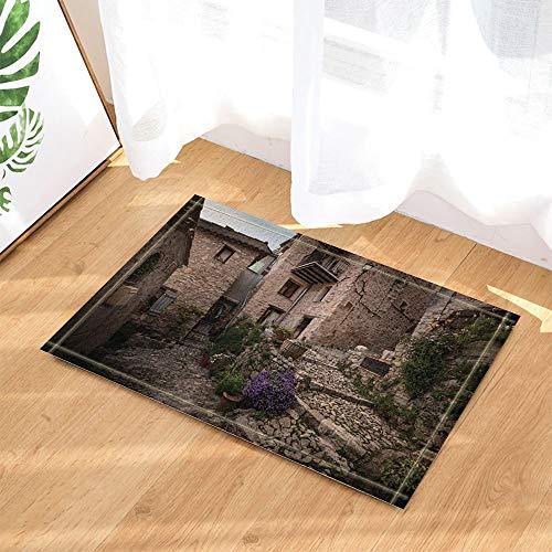ZZ7379SL Rustikale Dekor-Grünpflanzen kletterten die Wände der Retro Häuser-Bad-Wolldecken 3D digitaler Druck 40x60CM Schlafzimmerküchenkinderbadezimmer-Mattenzusätze