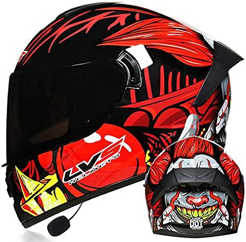 Casco De Motocicleta Integrado Con Bluetooth, Modular, De Cara Completa, Abatible Hacia Arriba, Visores Dobles, Cascos De Motocross Para Bicicleta, Casco De Locomotora De Motocicleta H,S