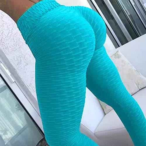 B/H Pantalon Sport Femme Decontracté Yoga Longue Pants,Vêtements de Sport Taille Haute, Legging Respirant Absorbant la Transpiration pour Femme-Bleu_S