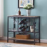 O&K FURNITURE Industrial Wine Rack Table with Glass Holder, Wine Bar Cabinet with Storage, Brown