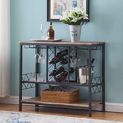 O&K Furniture Industrial Wine Rack Table with Glass Holder Wine Bar Cabinet with Storage Brown
