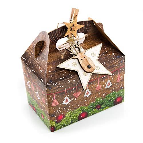 Lot de 16 cadeaux de Noël 18,5 x 12,5 x 12 cm – Rouge – Boîte en bois marron – Étoile dorée – Cadeau pour Noël naturel emballé.
