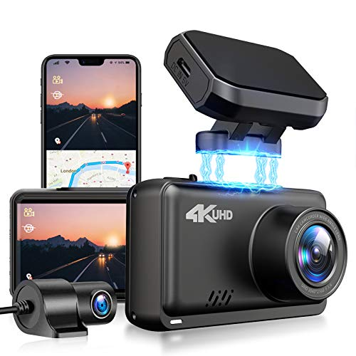JOMISE F2S 4K & 1080P Dashcam Vorne und Hinten Autokamera mit Eingebautem Wi-Fi GPS 2.45-Zoll-IPS-Bildschirmrekorder mit Gestenaufnahme, Übergeschwindigkeitswarnung, G-Sensor, Super Nachtsicht