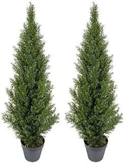 TWO Pre-potted 4' Artificial Cedar Topiary Outdoor Indoor Tree
