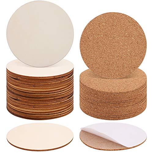 20 pezzi Cerchi in Legno e 20 pezzi sughero autoadesivo, 10cm cerchi legno per decorazioni, sottobicchieri rotonda sughero, fette di legno cerchi per sottobicchieri, Decorazioni