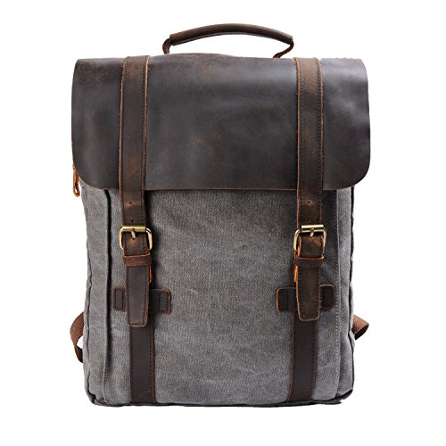 S-ZONE Retro Canvas Leather School Travel Backpack Rucksack 15.6 inch Laptop Bag (Gray)