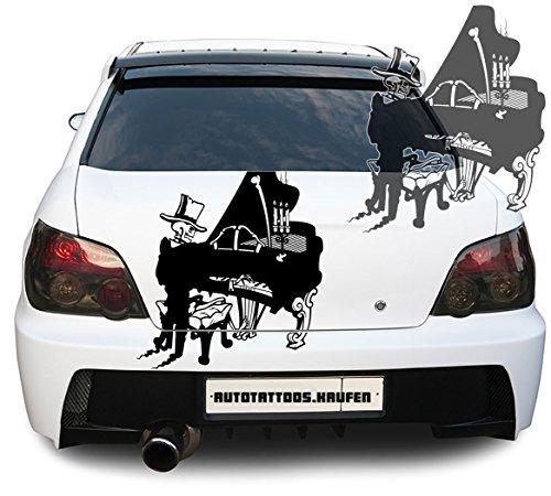 Autosticker, autattoo, skelet, piano vleugels, skull koper