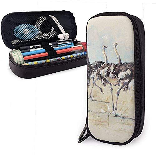Estuche de lápices Pintura de avestruz Correr Bolsa de cuero de PU Bolsas de almacenamiento Bolso de lápiz portátil Carteras con cremallera