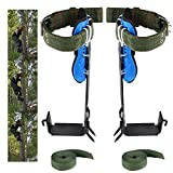 Paddsun Tree Climbing Spike Set 2 Gears with Adjustable Safety Harness Belt Straps,Stainless Steel Tree Pole Climbing Shoes Tool for Picking Fruit,Rock Climbing,Hunting Observation