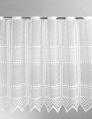 Scheibengardine Jacquard Querstreifen und Zacke 60 cm hoch   Breite der Gardine durch gekaufte Menge in 27 cm Schritten wählbar (Anfertigung nach Maß)   weiß   Vorhang Küche Wohnzimmer