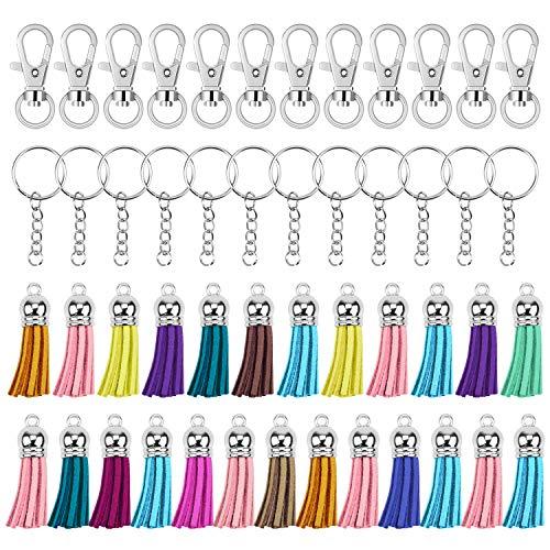 Hysagtek - Juego de 150 llaveros de anillas giratorias, llavero con cadena y anillos, borla de ante, accesorios para bricolaje, manualidades, proyectos y bisutería