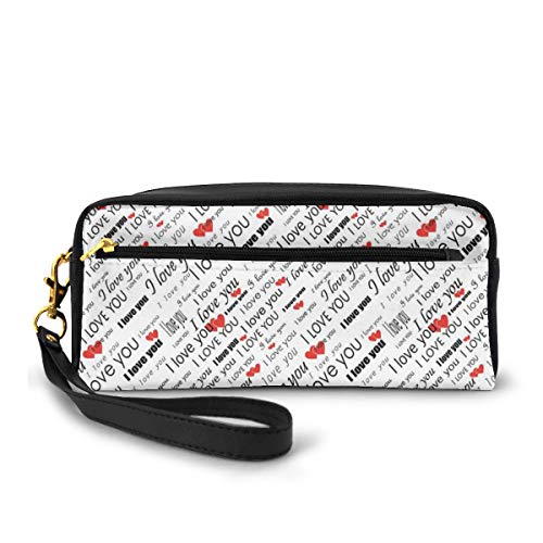 Pencil Case Pen Bag Pouch Stationary,Valentines Words with Hearts in Different Characters Celebration Pattern,Small Makeup Bag Coin Purse
