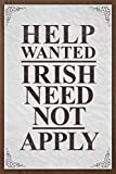 John Knorr Vintage Retro Metal Sign 12x16Inch,Help Wanted Irish Need Not Apply Vintage,Yard Iron Painting Tin Sign Vintage Wall Decor for Cafe Bar Pub Home