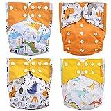 HahaGo Stoffwindeln, waschbar, wiederverwendbar, für die meisten Babys und Kleinkinder, Orange, Dinosaurier, 4 Stück
