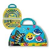 Undercover BSAR4220 Baby Shark - Maletín de Pintura, con rotuladores, Ceras, Acuarelas y Muchos Accesorios, 51 Piezas