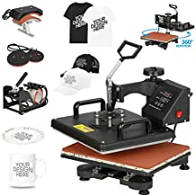 F2C 5 in 1 Pro Heat Press Machine 12x15 Digital Heat Transfer Sublimation Swing-Away for Hat/Mug/Plate/Cap/T-Shirt 360-degree Rotation Multifunction Black 110V