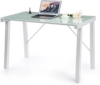 comprar comparacion IKAYAA YS1403009 - Mesa de Ordenador Escritorio de Trabajo para Oficina Casa (MAX.120kg,De Vidrio Templado,Estilo Moderno)