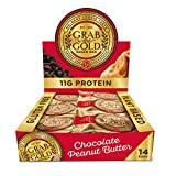 GRAB THE GOLD Gluten Free Vegan Protein Snack Bars, Chocolate Peanut Butter (Pack of 14) - Made with Organic Oats - 11g Protein - Plant Based Food - Vegan - Dairy Free - High Fiber - Kosher