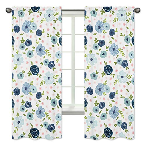 Sweet Jojo Designs Navy Blue and Pink Watercolor Floral Window Treatment Panels Curtains - Set of 2 - Blush, Green and White Shabby Chic Rose Flower