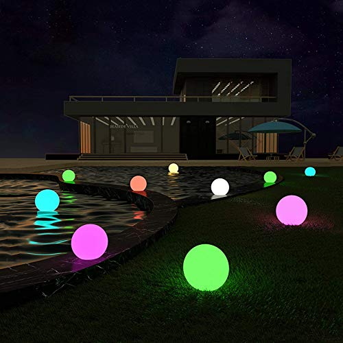 LOFTEK Vibrant LED Pool Decor Light Ball, 8-in RGB Colors Change Waterproof Floating Pool Light with Remote, Chargeable Battery Glowing Sphere, Perfect for Pool, Deck, Lawn, and Patio Decor, 1 PCS