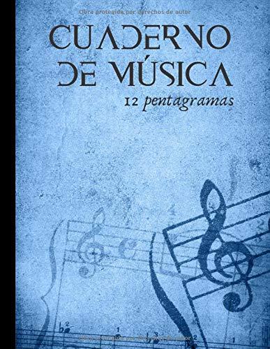 Cuaderno de música 12 pentagramas: Cuaderno de composición para músicos aficionados y experimentados - piano, guitarra, voz...|100 páginas en formato A4