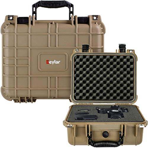 Eylar Protective Camera Hard Case Water & Shock Proof with Foam 13.37 inch 11.62 inch 6 inch Tan