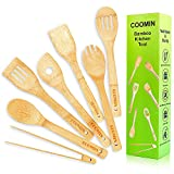 Healthy Wooden Spoons for Cooking, 7pcs Bamboo Cooking Utensils Set with Toaster Tongs, Non-stick Pan Kitchen Tool for Cookware and Wok, Eco-friendly Wood Spatula Set for Cooking Salad Fork