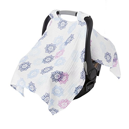 aden + anais Essentials Car Seat Canopy Cover, 100% Cotton Muslin, Lightweight and Breathable, Pretty Pink - Medallion