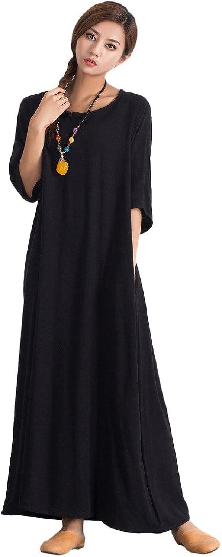 Sellse Women's Linen Cotton Loose Maxi Soft Comfort Skirt Plus Size Dress