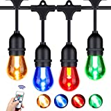Foxlux Outdoor String Lights with Color Changing LED - 48 ft Patio Lights with Remote Control Color Change - White, Red, Green and Blue - Waterproof Plastic Bulbs for Backyard, Garden, Bistro