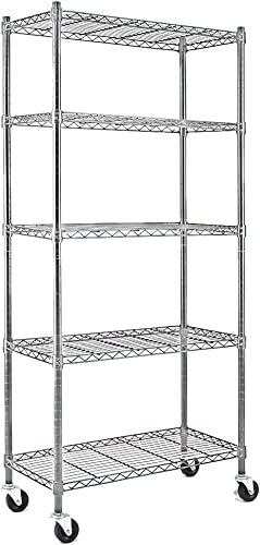 new arrival EFINE 5-Shelf Chrome Silver Shelving Units and Storage on 3'' Wheels, Adjustable Heavy Duty Carbon Steel Wire online Shelving Unit (30W x 14D x 63.7H) Chrome Silver popular (5-Shelf-Wheels-Silver) online sale