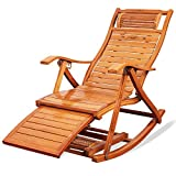 Nurth 3-in-1 Adirondack Chair Foldable/Wooden Rocking Chairs/Sun Lounger Chairs & Recliners Outdoor Folding Rocker Made of Bamboo, with armrest Foot Massage Pillow, Portable Deck Recliner(Old Color)