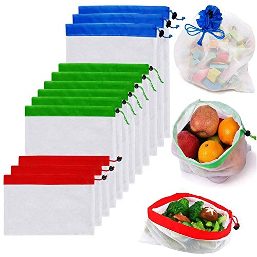 Reutilizable Mesh Produce Bags, Mesh Bags for Vegetables Eco Friendly Net Bags for Grocery Shopping & Storage Bags of Fruit Vegetables, Garden Produce Bags, Set of 12