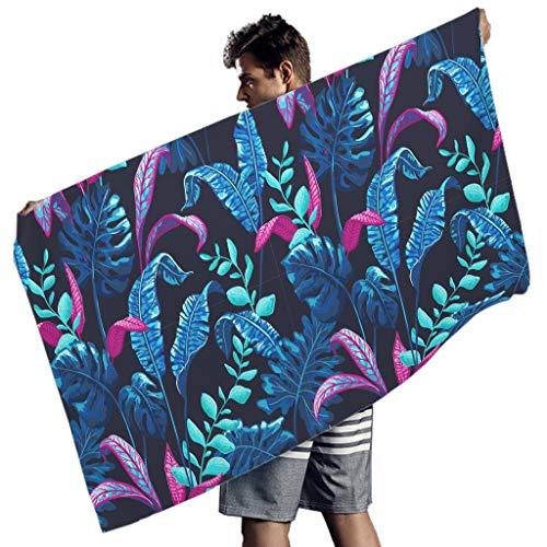 BTJC88 toalla de playa de microfibra con hojas tropicales de palmas de palmas super absorbente, esterilla de yoga para la playa – Esterilla de picnic para natación, Poliéster, Blanco, 150x75 cm