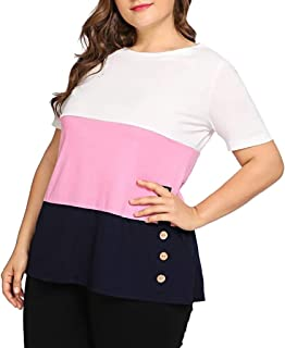 DADKA Womens Shirt Casual O-Neck Solid Short Sleeve Plus Size Button Tops Loose T-Shirt Blouse
