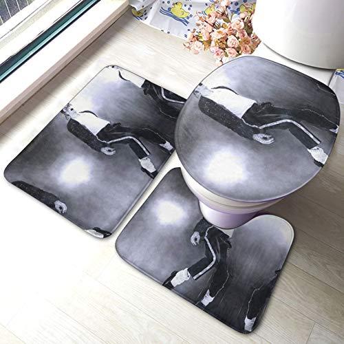 Mi-Chael Ja-Ckson - Juego de alfombrillas de baño y alfombrilla de inodoro en forma de U con adhesivo antideslizante para suelo bañera, ducha, dormitorio, lavable a máquina, 3 piezas