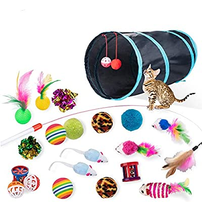Dono 21Pcs Cats Feather Toys - Pet Interactive Toys 2 Way Hole Tunnel Feather Wand Fun Ball Chew Sticks, Fluffy Mouse, Fake Mice, Crinkle Balls, Bell Play Toys Indoor Set for Kitty and Cats