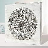 Cuadro Mandala de Pared Calada, Fabricada artesanalmente en España- Mandala 3D Cuadrada Pintada a Mano (223 Blanco, 50x50 cm)