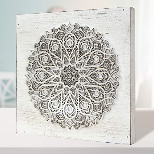 Cuadro Mandala de Pared Calada, Fabricada artesanalmente en España- Mandala 3D- Pintada a Mano- Modelo Mosaico 223 (Blanco Envejecido, 30x30 cm)