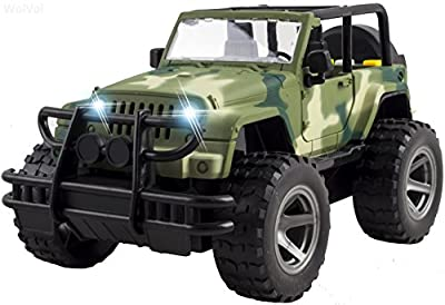 WolVol Off-Road Military Fighter Car Toy - Friction Powered Toy Vehicle with Fun Lights & Sounds - 2 Doors Open - Great Gift for All Occasions for Kids Boys & Girl from WolVol