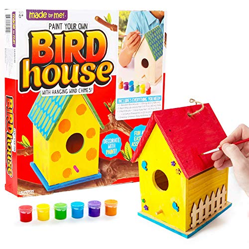Made By Me Build & Paint Your Own Wooden Bird House Horizon Group USA, DIY Birdhouse Making Kit, Includes Paints, Brushes, Glue & Wind Chimes