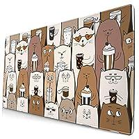 団子dadabuliu マウスパッド 大型 ゲーミング でかい キーボードパッド 猫 集まり ネコ お茶 キュート ゴム底 光学マウス ゲーム 特大 40cm×75cm 滑り止め エレコム 耐久性が良い おしゃれ かわいい 防水 サイバーカフェ オフィス最適 適度な表面摩擦