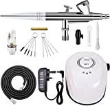 GANZTON 19B Mini Airbrush Compressor set Air-paint Control suit with 0.4mm 10L Dual Action Spray Gun Airbrush Kit for Arts,Beauty Makeup,Temporaty Tattoos,Cake Decorating,Crafts and so on(White)