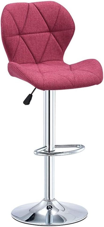 Barstools Counter Height Bar Stools Swivel Bar Stools with Backrest Linen Seat Adjustable Bar Chairs for Kitchen Dining Chairs 5 Colors, 60-80cm (Color : Pink)