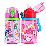 2 Pack Cute Water Bottle with Straw for Kids Girls, BPA FREE Tritan & Leak Proof One Click Open Flip Top & Silicone Sipper & Secure Lock & Soft Carry Loop, 14oz / 400ml (Unicorn & Mermaid)