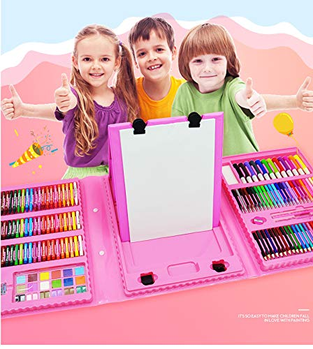 Alikeke Painting Drawing Set Crayon Colored Pencils Watercolors Pens Set Collapsible with Easel Children's Drawing Toy Set (Red)