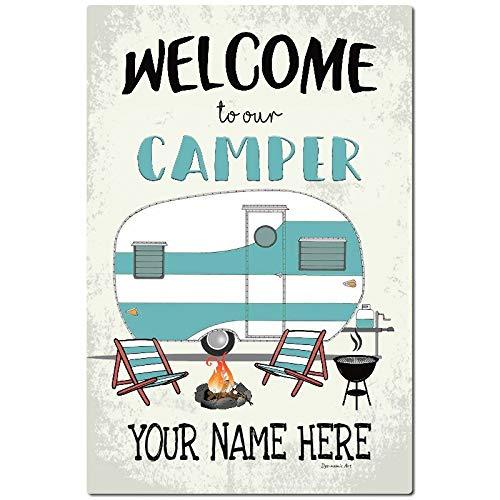 Fhdang Decor Cartel de Bienvenida de Metal Personalizado para Camping, decoración al Aire Libre, señal de Caravana, decoración de Pared, señal de Remolque, de Aluminio, 20 x 30 cm