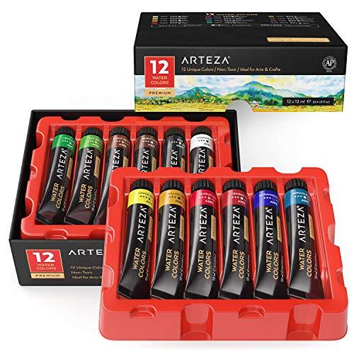 Arteza Tubos de acuarela líquida de calidad | 12 colores de acuarela | Tubos de 11,8 ml | Kit de iniciación para pintar acuarelas
