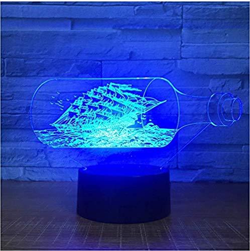 Lampka nocna 3D dla dzieci chłopców zabawki złudzenie optyczne lampa czarna perła łódź rozświetl swoje marzenia do sypialni dekoracja stołu idealne prezenty urodziny festiwal z ładowaniem USB, kolorowa co